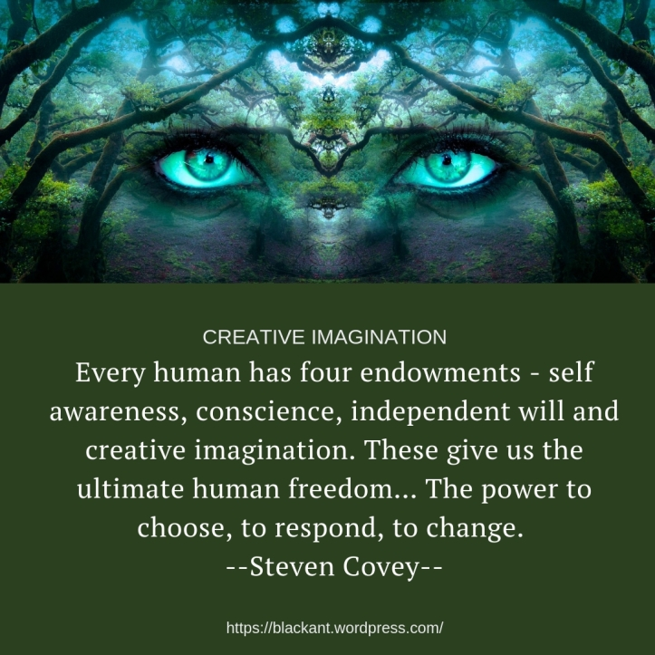 very human has four endowments - self awareness, conscience, independent will and creative imagination. These give us the ultimate human freedom... The power to choose, to respond, to change.