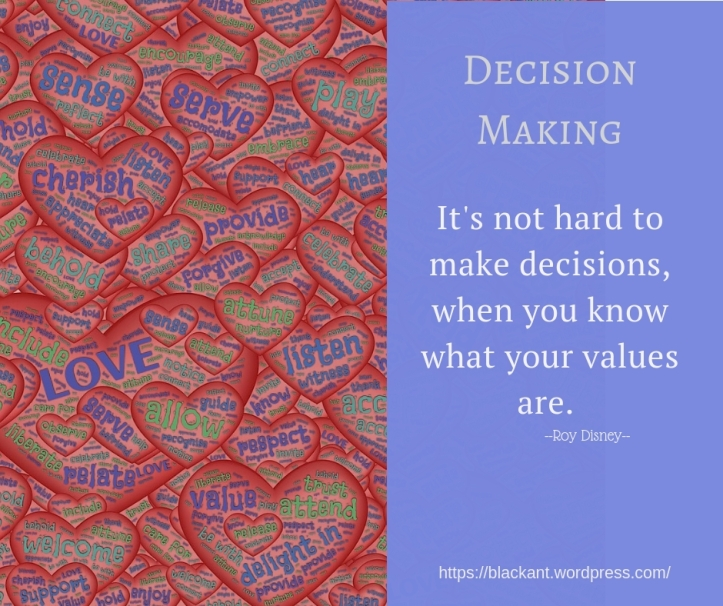 It's not hard to make decisions, when you know what your values are.
