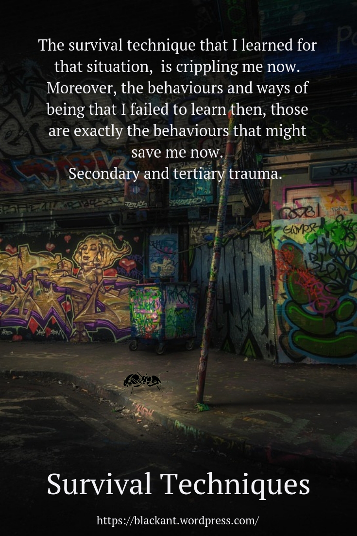 The survival technique that I learned for that situation, is crippling me now. Moreover, the behaviours and ways of being that I failed to learn then, those are exactly the behaviours that might save me now. Secondary and tertiary trauma.