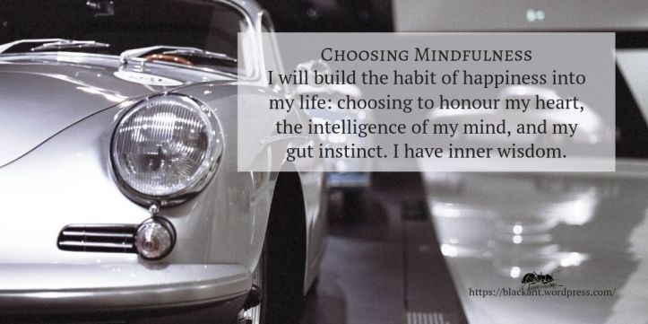 choosing mindfulness, I will build the habit of happiness into my life: choosing to honour my heart, the intelligence of my mind, and my gut instinct. I have inner wisdom.