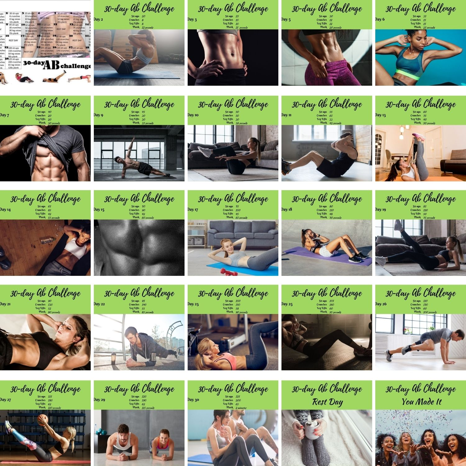 30-day ab challenge, planks, crunches, leg lifts, sit ups, obliques, superman hold, lower back strength, core strength, strengthen your core