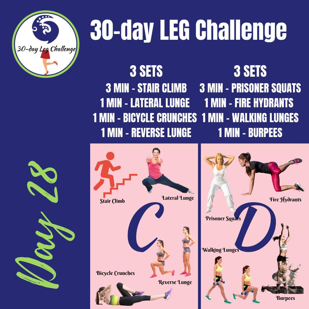 leg challenge, 30-day fitness challenge, stair climb, lateral lunge, bicycle crunches, reverse lunge, prisoner squats, fire hydrant exercises, walking lunges, burpees, oblique crunches, leg lifts, fitness goals
